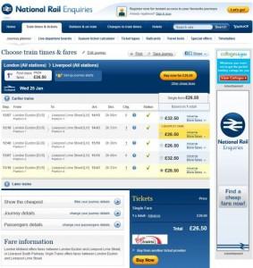 1月25日伦敦至利物浦的火车票